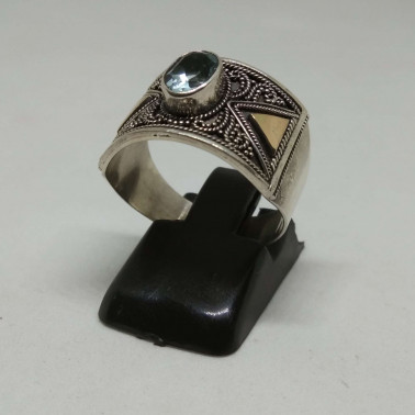 RR 13845-1 PC OF HAND CARVED 925 BALI SILVER RINGS WITH GOLD AND BLUE TOPAZ