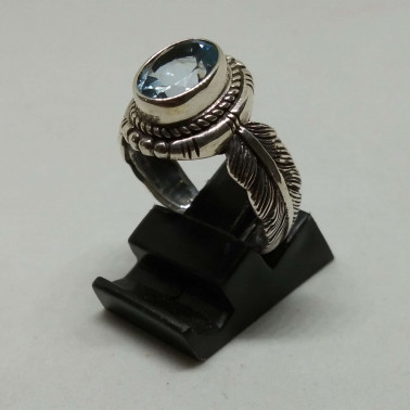 RR 13939 BT-(HANDMADE 925 BALI SILVER FEATHER RING WITH BLUE TOPAZ)