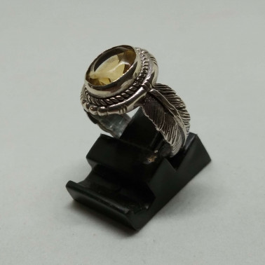 RR 13939 CT-(HANDMADE 925 BALI SILVER FEATHER RING WITH CITRINE)