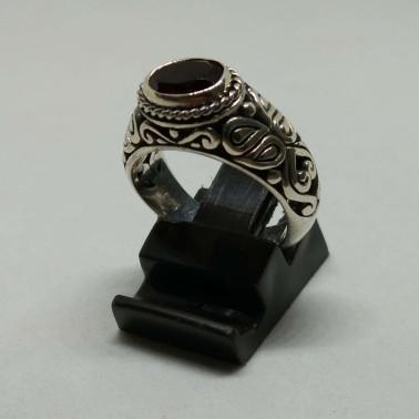 RR 13936 GR-(HANDMADE 925 BALI SILVER FILIGREE RINGS WITH GARNET)