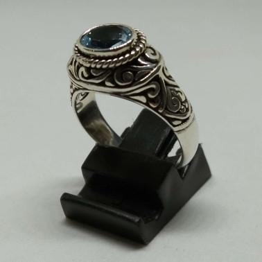 RR 13938 BT-(HANDMADE 925 BALI SILVER FILIGREE RINGS WITH BLUE TOPAZ)