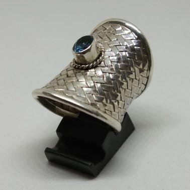 RR 12861 B-BT-(HANDMADE 925 BALI SILVER WOMAN WOVEN RING WITH BLUE TOPAZ)