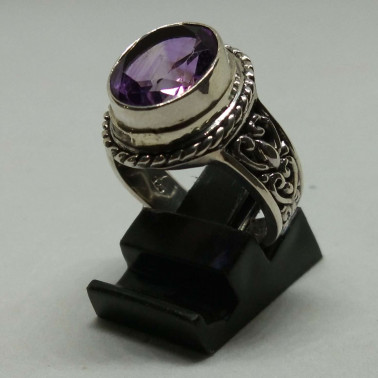 RR 13746-(HANDMADE 925 BALI SILVER FILIGREE RINGS WITH AMETHYST)