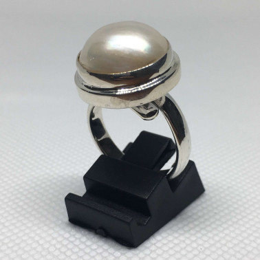 RR 09043 PL-(HANDMADE 925 BALI STERLING SILVER RING WITH MABE PEARL)
