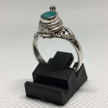 RR 01980 TQ-(HANDMADE 925 BALI SILVER POISON RINGS WITH TURQOUISE)