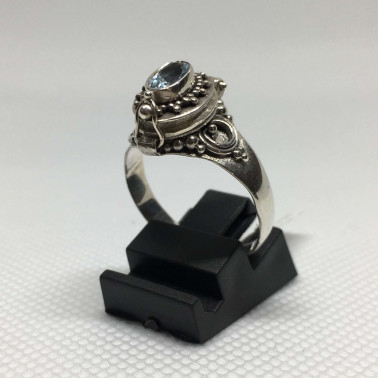 RR 13778 BT-(HANDMADE 925 BALI SILVER POISON RING WITH BLUE TOPAZ)