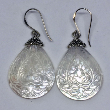 ER 13753 MP-(UNIQUE 925 BALI SILVER EARRINGS WITH HAND CARVING WHITE SHELL)