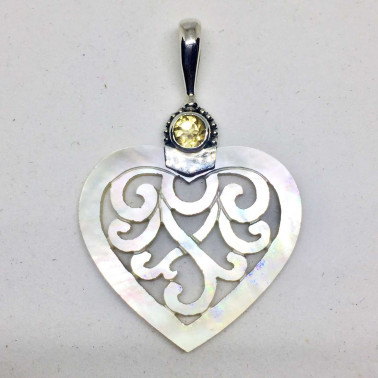 PD 13775 CT-(925 BALI SILVER HAND CARVING SHELL PENDANT WITH CITRINE)