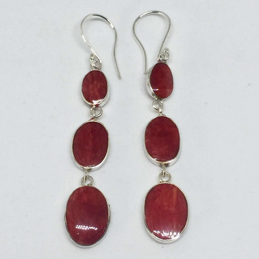 ER 13771 CR-(UNIQUE 925 BALI SILVER EARRINGS WITH RED CORAL)