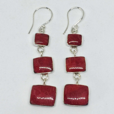 ER 13754 CR-(UNIQUE 925 BALI SILVER EARRINGS WITH RED CORAL)