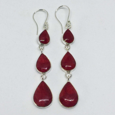 ER 13772 CR-(UNIQUE 925 BALI SILVER EARRINGS WITH RED CORAL)
