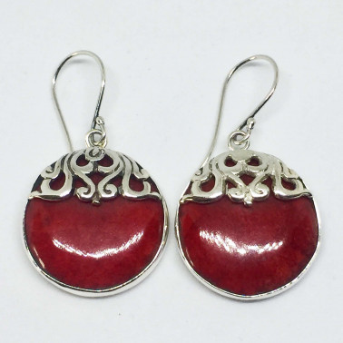 ER 13768 CR-(UNIQUE 925 BALI SILVER EARRINGS WITH RED CORAL)