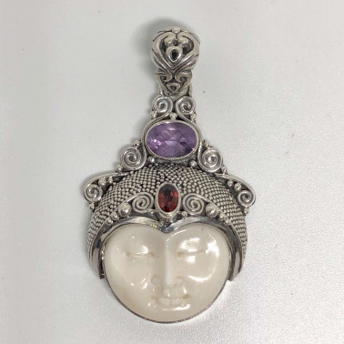 PD 11788 BN-925 BALI SILVER BONE FACE PENDANT WITH GEMSTONES