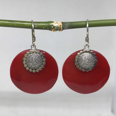 ER 10475 CR-BALI 925 STERLING SILVER EARRINGS WITH CORAL