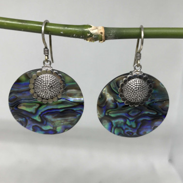 ER 10475 AB-BALI 925 STERLING SILVER EARRINGS WITH ABALONE