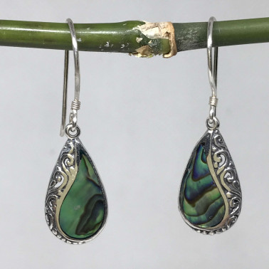 ER 14199 AB-BALI 925 STERLING SILVER EARRINGS WITH ABALONE