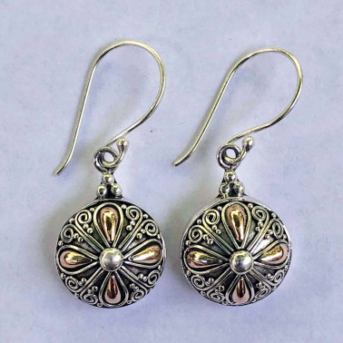 ER 14165-(HANDMADE 925 BALI SILVER EARRINGS WITH 18KT GOLD ACCENT)