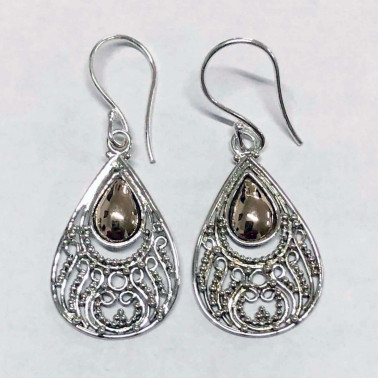ER 12542-HANDMADE 925 BALI SILVER EARRINGS WITH 18KT GOLD ACCENT