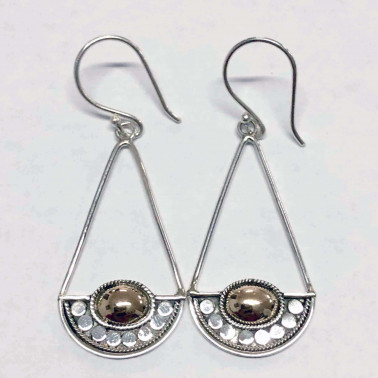 ER 14170 B-HANDMADE 925 BALI SILVER EARRINGS WITH 18KT GOLD ACCENT