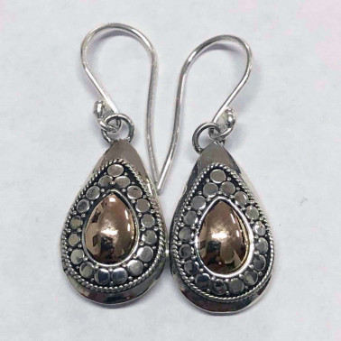 ER 12526-HANDMADE 925 BALI SILVER EARRINGS WITH 18KT GOLD ACCENT
