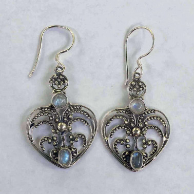 ER 07997 RM-HANDMADE 925 BALI SILVER FILIGREE EARRINGS WITH RAINBOW MOONSTONE