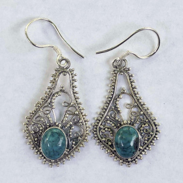 ER 10075 TQ-HANDMADE 925 BALI SILVER EARRINGS WITH TURQOUISE