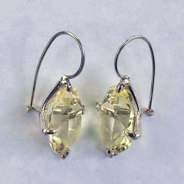 ER 14021 B-LQ-HANDMADE 925 BALI SILVER EARRINGS WITH LEMON QUARTZ