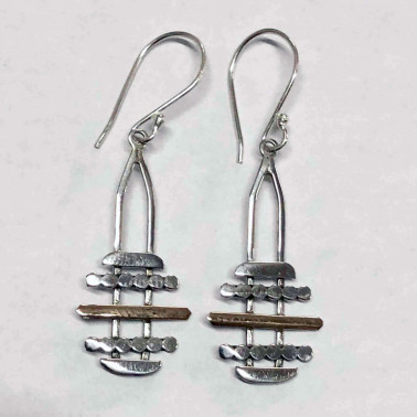 ER 13516-HANDMADE 925 BALI SILVER EARRINGS WITH 18KT GOLD ACCENT