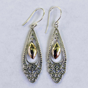 ER 14171-HANDMADE 925 BALI SILVER EARRINGS WITH 18KT GOLD ACCENT