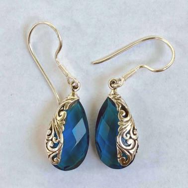 ER 12248 BT-HANDMADE 925 BALI SILVER EARRINGS WITH BLUE TOPAZ