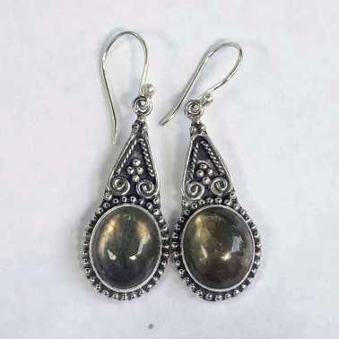 ER 14156 LB-HANDMADE 925 BALI SILVER EARRINGS WITH LABRADORITE