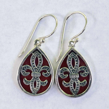 ER 14192 CR-HANDMADE 925 BALI SILVER EARRINGS WITH CORAL