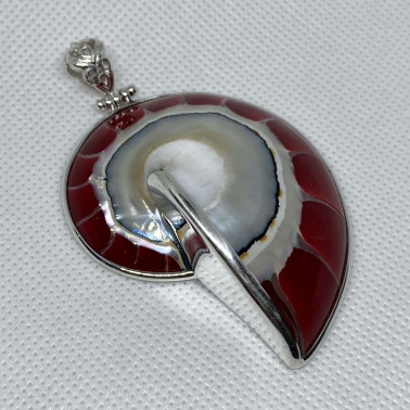 PD 06291 B-RD-(HANDMADE 925 BALI SILVER PENDANT WITH RED COLORED NAUTILUS SHELL)