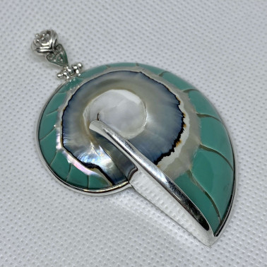PD 06291 B-TC-(HANDMADE 925 BALI SILVER PENDANT WITH TOSCA COLORED NAUTILUS SHELL)
