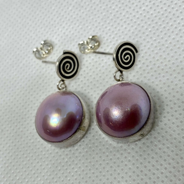 ER 13826 PPL-BALI SILVER EARRINGS WITH PINK MABE PEARL