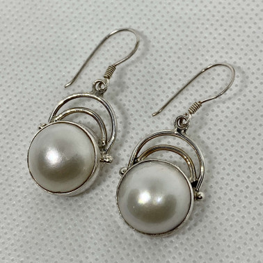 ER 12475 PL-BALI SILVER EARRINGS WITH MABE PEARL