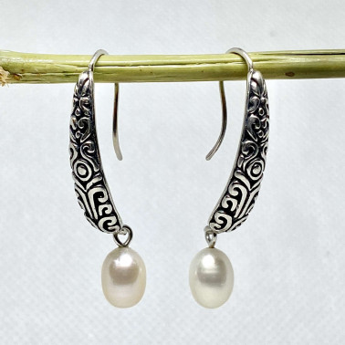 ER 14223 PL-BALI SILVER EARRINGS WITH PEARL