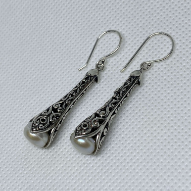 ER 12778 A-PL-(HANDMADE 925 BALI SILVER EARRINGS WITH PEARL