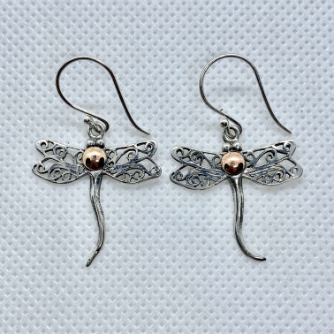 ER 13956-(UNIQUE 925 BALI SILVER DRAGONFLY EARRINGS WITH 18 KT GOLD ACCENT)