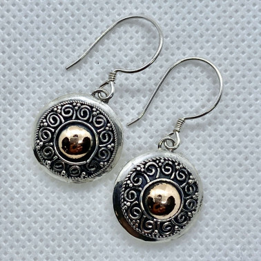 ER 14167 B-(UNIQUE 925 BALI SILVER EARRINGS WITH 18 KT GOLD ACCENT)