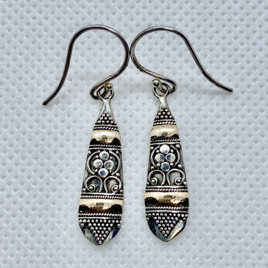 ER 12533-(UNIQUE 925 BALI SILVER EARRINGS WITH 18 KT GOLD ACCENT)