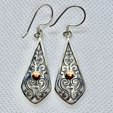 ER 13834-(UNIQUE 925 BALI SILVER SHIELD EARRINGS WITH 18 KT GOLD ACCENT)