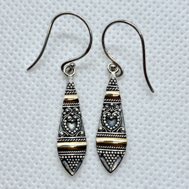 ER 12535-(UNIQUE 925 BALI SILVER EARRINGS WITH 18 KT GOLD ACCENT)