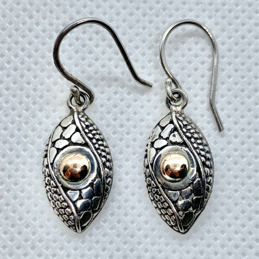 ER 12166-(HANDMADE 925 BALI SILVER EARRINGS WITH 18KT GOLD ACCENT)