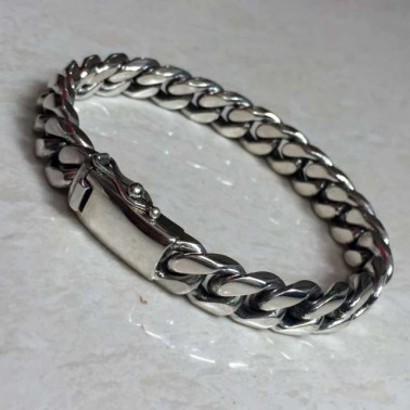BR 02487-(HANDMADE 925 BALI SILVER CHAIN BRACELET 10MM WIDE - 190MM LONG)
