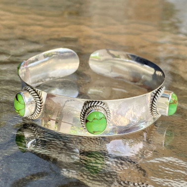 BR 14155 GMV-(HANDMADE 92 BALI STERLING SILVER BRACELETS WITH GREEN MOJAVE TURQUOISE)