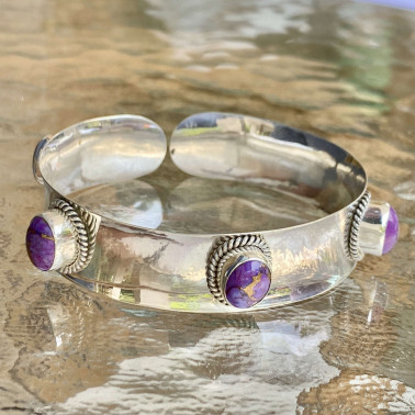 BR 14155 PMV-(HANDMADE 92 BALI STERLING SILVER BRACELETS WITH PURPLE MOJAVE TURQUOISE)