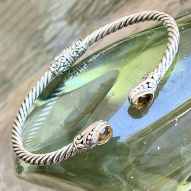 BR 14572 CT-(HANDMADE 925 BALI STERLING SILVER BRACELETS WITH CITRINE)