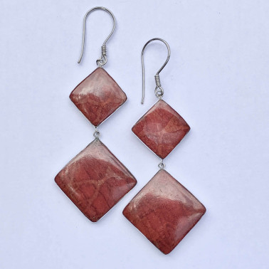 ER 14775 CR-(HANDMADE BALI 925 STERLING SILVER DANGLE EARRINGS WITH CORAL)