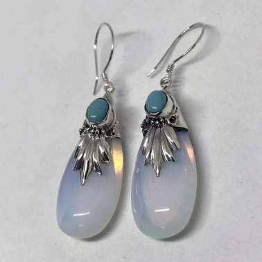 ER 00194 TQ-(925 BALI SILVER EARRINGS WITH TURQUOISE - OPALITE)